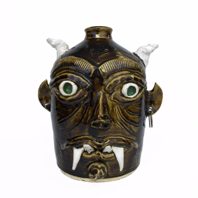 """Evil Spirits Beware"" Ceramic Face Jug face jug, pottery, ceramics, devil, sam williams, folk art, monroe, monreville"