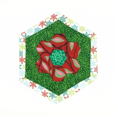Festive Hexagon Mug/Candle Rug quilted, fabric, sewn, leslie zacchini