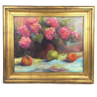"""Fruit and Flowers"" Oil Painting"