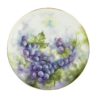 Hand Painted Torte Tray- Grapes hand painted, platter, tray,