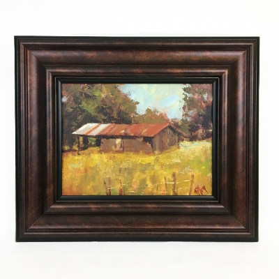 """Old Barn"" Susan, Alsup, Old, Barn, Framed, painting, field,"
