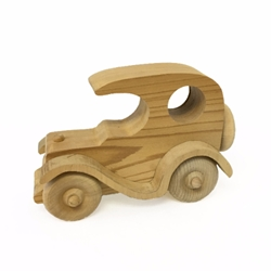 One Hole Coupe wooden car, wood carving, wood, old car, coupe, toy car, wooden toy, fletcher cox,