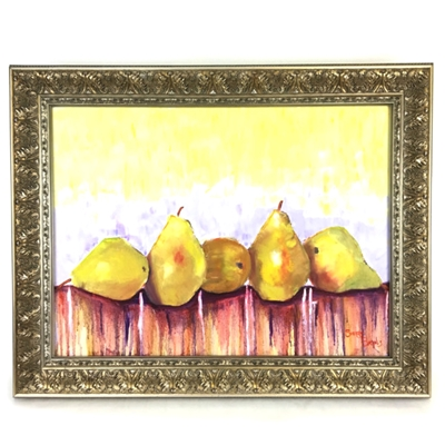 """Pears"" Oil Painting Sherry Barnes, pears, oil painting, canvas, black belt, art"