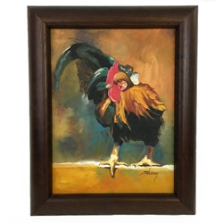 """Rooster"" Oil Painting  Sherry Barnes, Clarke County, Black Belt, Oil painting, canvas, rooster"