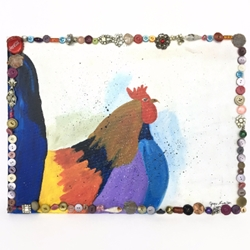 Rooster folk art, painting, acrylic, wall art