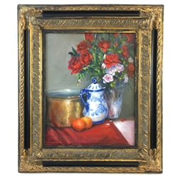 """Still Life with Red Roses"" Lolita, Dickinson, Red, Roses, Vase, painting, framed,"