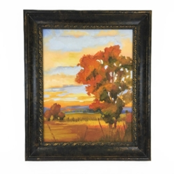"""Sunset on Creek"" Sherry Barnes, Clarke County, Black Belt, Oil Painting, Canvas, Sunset on Meadow"