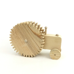 Tractor with Notched Wheels wooden troy, wooden tractor, tractor, toy tractor