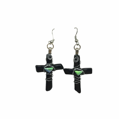 Wire Wrapped Fused Glass Earrings earrings, jewelry, glass earrings, cross earrings, fused glass, glass work, glass work earrings, black earrings,