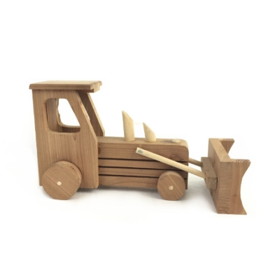 Wooden Tractor With Dozer Blade wooden tractor, toy tractor, tractor toy, tractor with blade, hand carved toy