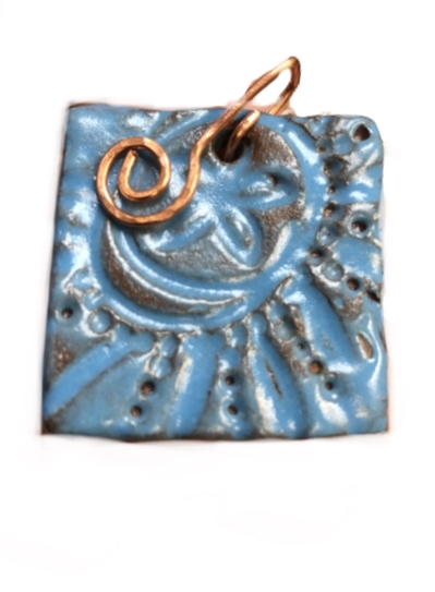Ceramic Pendant w/ Copper Spiral