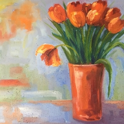 Tulips in Red tulips in red, tulips, flowers, painting, art for the wall, elizabeth reid