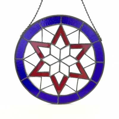 Red, White, and Blue Starburst glass, stained glass, glass work
