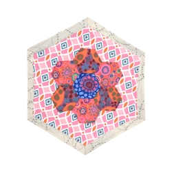 Hexagon Mug/Candle Rug quilted, fabric, sewn, leslie zacchini