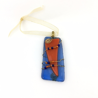 Fused Glass and Wire Wrapped Pendant glass, fused glass, glass jewelry, auburn, au,