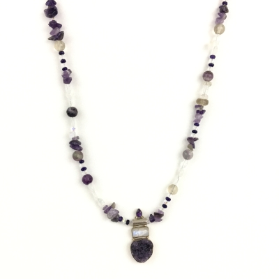 Amethyst Necklace necklace, beaded necklace, amethyst necklace, amethyst, geode, amethyst geode