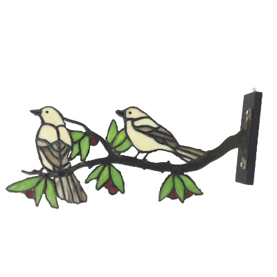 White Birds on a Limb stained glass, glass, wall art, wall hanging, bird, white bird