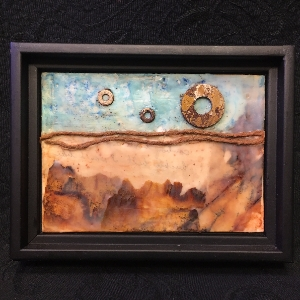Lunar View encaustic, painting, wall art