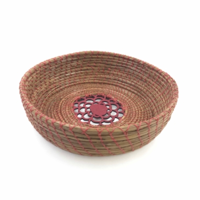 Pine Needle Basket with Red Filigree Insert  pine needle basket, pine needle, basket, bowl